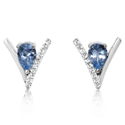 14K White Gold Aquamarine/Diamond Earrings | EPF234Q22WI