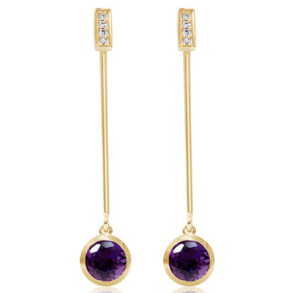 14K Yellow Gold Amethyst/Diamond Earrings | EPF235A22CI