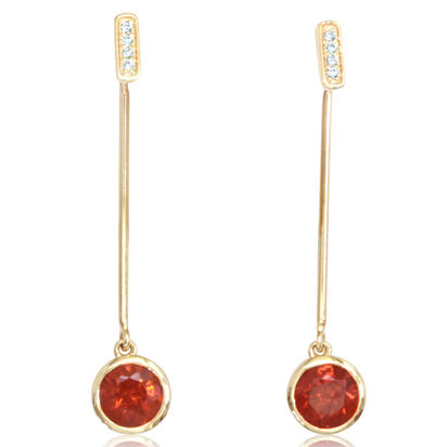 14K Yellow Gold Rhodolite Garnet/Diamond Earrings | EPF235L22CI