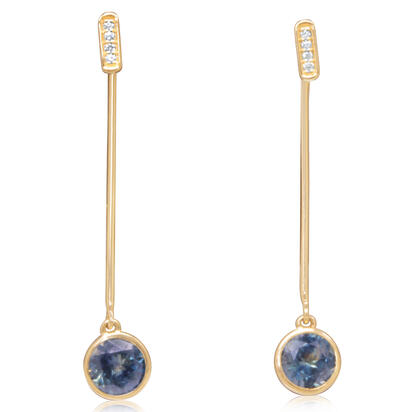 14K Yellow Gold Montana Sapphire/Diamond Earrings | EPF235MS2CI
