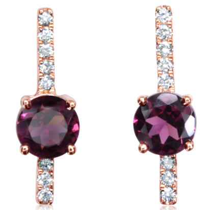 14K Rose Gold Rhodolite Garnet/Diamond Earrings | EPF237L22RI