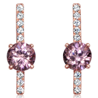 14K Rose Gold Lotus Garnet/Diamond Earrings | EPF237LG2RI