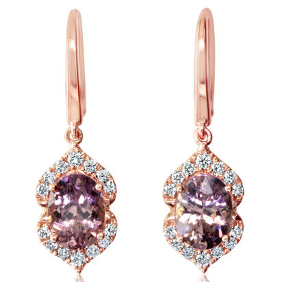 14K Rose Gold Lotus Garnet/Diamond Earrings | EPF238LG2RI