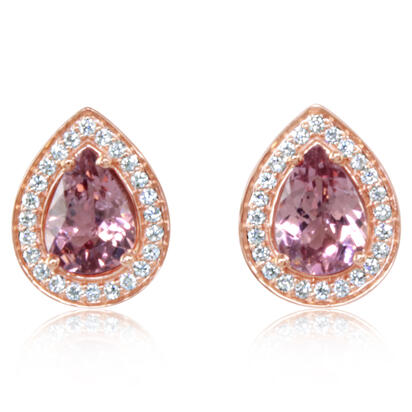 14K Rose Gold Lotus Garnet/Diamond Earrings | EPF239LG2RI