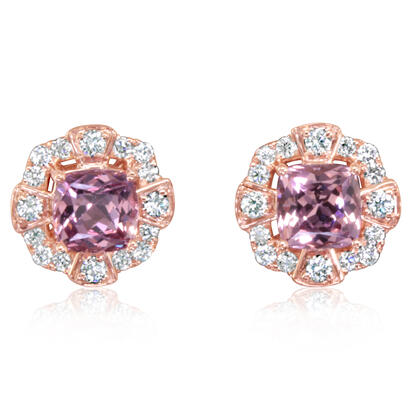 14K Rose Gold Lotus Garnet/Diamond Earrings | EPF240LG2RI