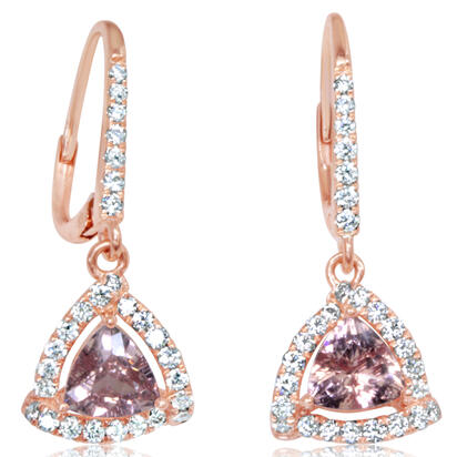 14K Rose Gold Lotus Garnet/Diamond Earrings | EPF242LG2RI