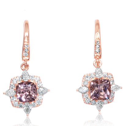14K Rose Gold Lotus Garnet/Diamond Earrings | EPF245LG2RI