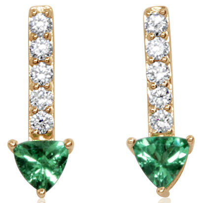 14K Yellow Gold Tsavorite/Diamond Earrings