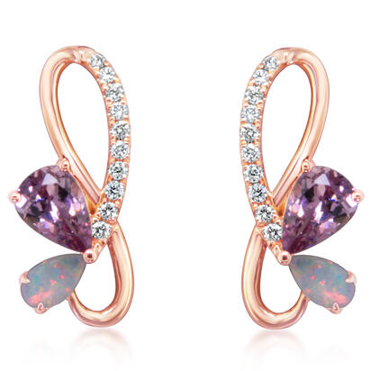 14K Rose Gold Lotus Garnet/Australian Opal/Diamond Earrings
