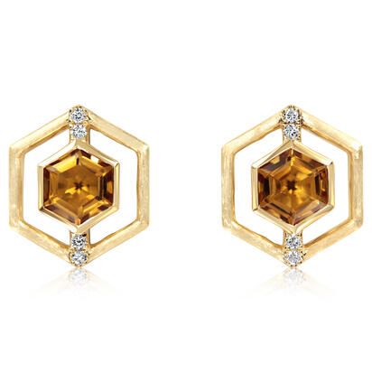 14K Yellow Gold Citrine/Diamond Earrings | EPF260C22CI