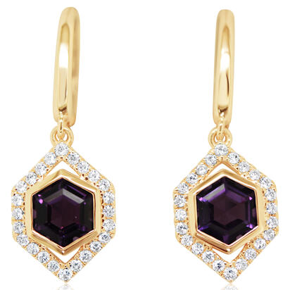 14K Rose Gold Amethyst/Diamond Earrings | EPF261A22RI