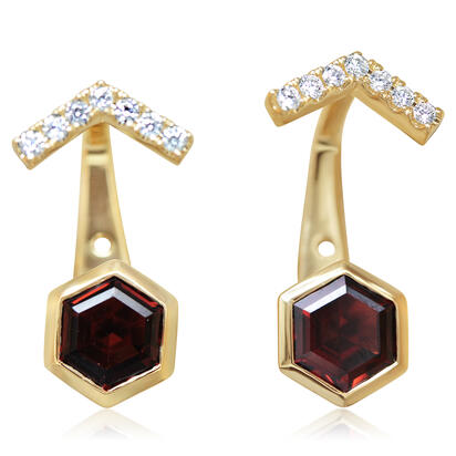 14K Yellow Gold Garnet/Diamond Earrings | EPF262G22CI