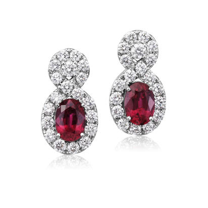18K White Gold Mozambique Ruby/Diamond Earrings | ERZOV0200291QI