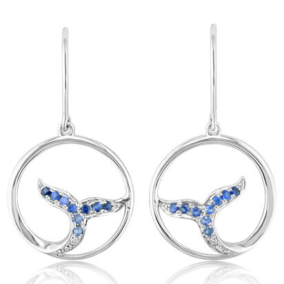 14K White Gold Graduated Blue Sapphire/Diamond Whale Tail Earrings | ESL026GS3WI