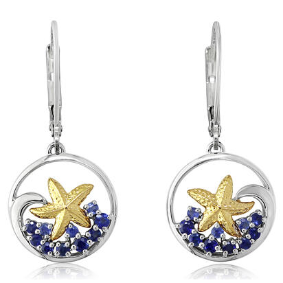 Sterling Silver /14K Yellow Gold Graduated Blue Sapphire Starfish Earrings