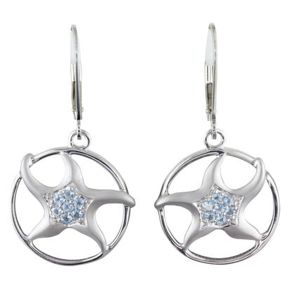 Sterling Silver Blue Topaz Starfish Earrings