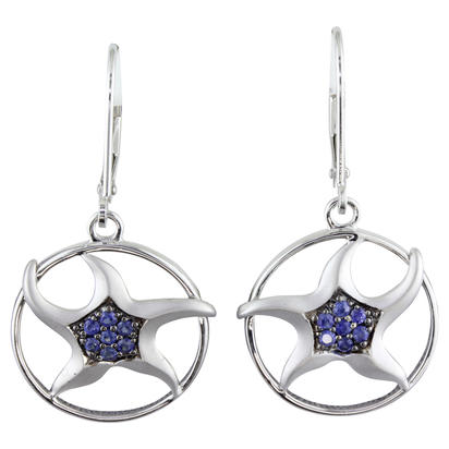 14K White Gold Graduated Blue Sapphire Starfish Earrings