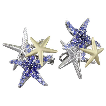 Sterling Silver /14K Yellow Gold Graduated Blue Sapphire Starfish Earrings | ESL045GSXNI