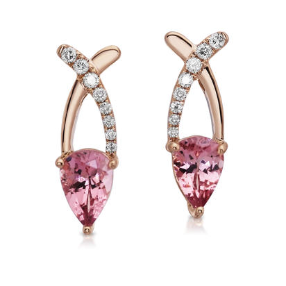 14K Rose Gold Lotus Garnet/Diamond Earrings | ECF001LG2RI