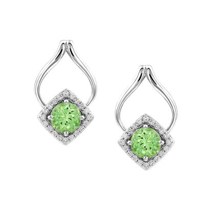 14K White Gold Semi-Mount/Diamond Earrings