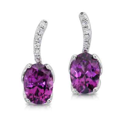 14K White Gold Purple Garnet/Diamond Earrings | ESR008GP2WI