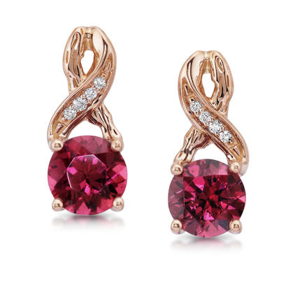 14K Rose Gold Rhodolite Garnet/Diamond Earrings