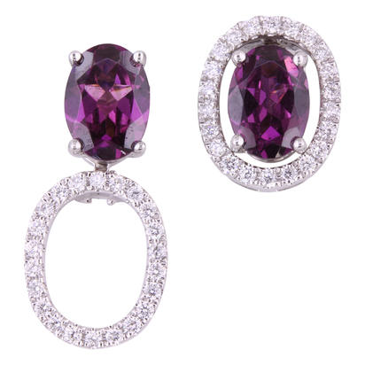 14K Yellow Gold 5x7 Oval Purple Garnet/Diamond Earrings Set | EPF224GP2CI-SET