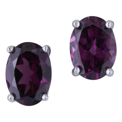 14K White Gold 5x7 Oval Mandarin Garnet Stud Earrings