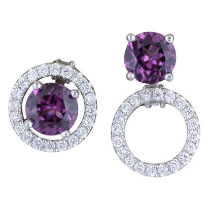 14K White Gold 5mm Round Purple Garnet/Diamond Earrings Set | EPF225GP2WI-SET
