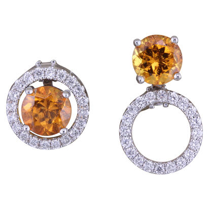 14K White Gold 5mm Round Mandarin Garnet/Diamond Earrings Set | EPF225SPE2WI-SET