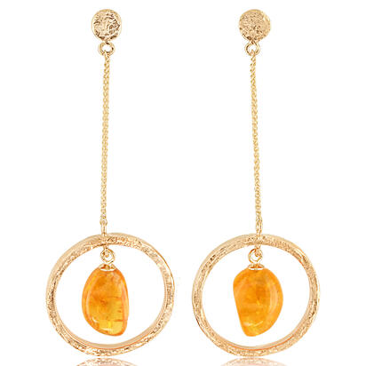 14K Yellow Gold Mandarin Garnet Hammer Finish Earrings | ESR012SPEX049C