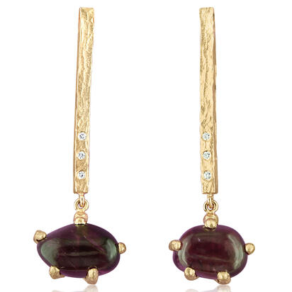14K Yellow Gold Purple Garnet/Diamond Hammer Finish Earrings | ESR016GP2XXXC