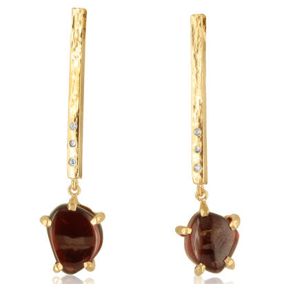 14K Yellow Gold Rhodolite Garnet/Diamond Hammer Finish Earrings | ESR016L22040C