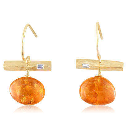 14K Yellow Gold Mandarin Garnet/Diamond Earrings | ESR018SPE1XXXC