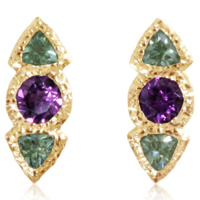 14K Yellow Gold Purple Garnet/Mint Garnet Earrings