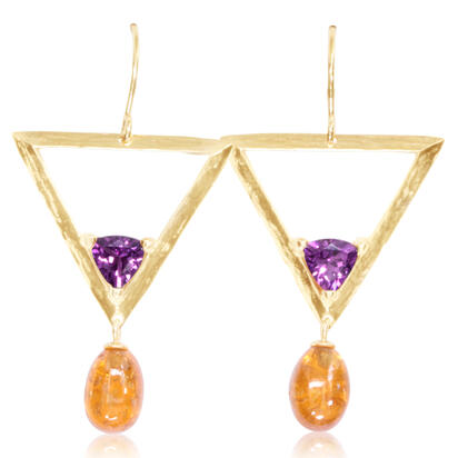 14K Yellow Gold Mandarin Garnet/Purple Garnet Earrings | ESR021SPEGPXC