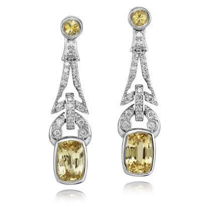 18K White Gold Yellow Sapphire/Diamond Earrings | ESYCU500330QI