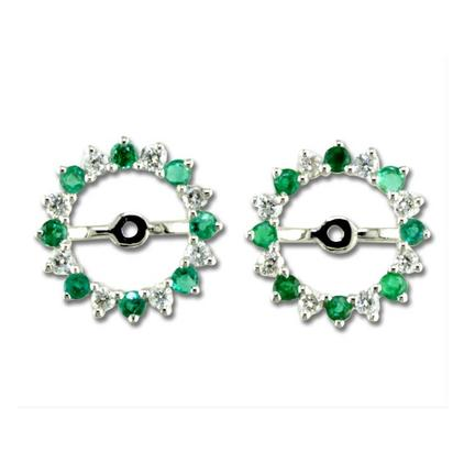 14K White Gold Emerald/Diamond Earrings Jacket | JCC001E22WI