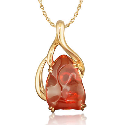14K Yellow Gold Fire Opal Pendant | LPDWDSLFO-8I