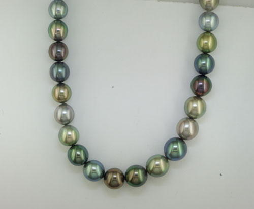 10-12mm Short Drop Tahitian Multi Color Pearl Strand (ct weight Varies )