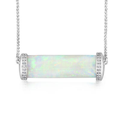18K White Gold Australian Opalized Belemnite/Diamond Neckpiece