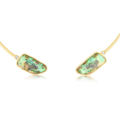 14K Yellow Gold Boulder Opal/Diamond Neckpiece