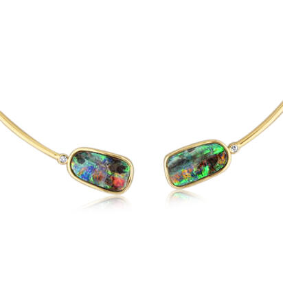 14K Yellow Gold Boulder Opal/Diamond Neckpiece | NBR3505A2C