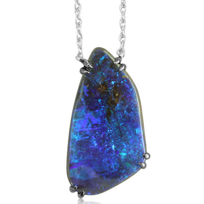 Silver Australian Boulder Opal Neckpiece with Blackened Prongs | NBR6051AX5I