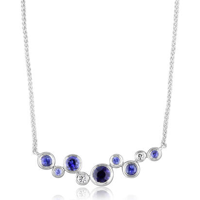 14K White Gold Purple Garnet/Diamond Neckpiece | NPF232GP2WI