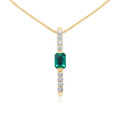 14K Yellow Gold Emerald/Diamond Neckpiece | NCC200E12CI