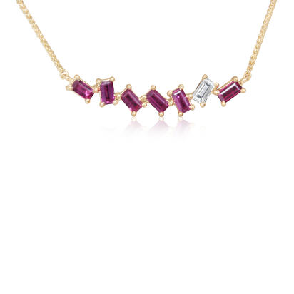 14K Yellow Gold Madagascar Ruby/Diamond Neckpiece | NCC207RM1CI
