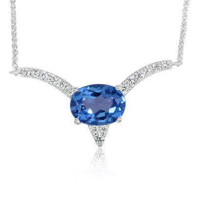 14K White Gold Blue Topaz/Diamond Neckpiece | NCC217B22WI