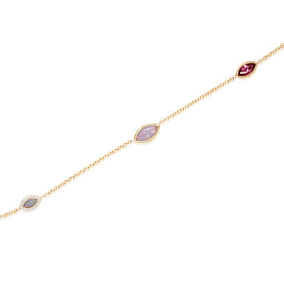 14K Yellow Gold Australian Opal/Purple Garnet/Diamond Neckpiece