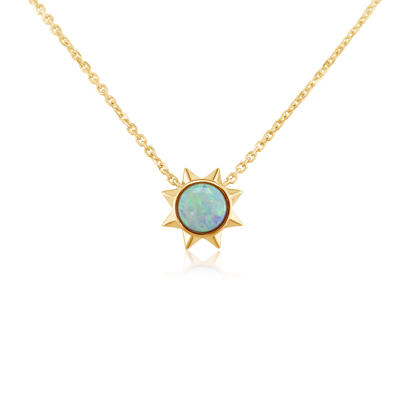 14K Yellow Gold Blue Topaz Neckpiece | NPF361B2XC